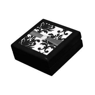 large white and black bold damask keepsake boxes