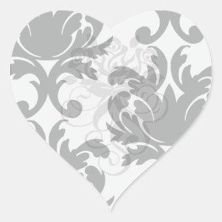 large white and black bold damask heart sticker