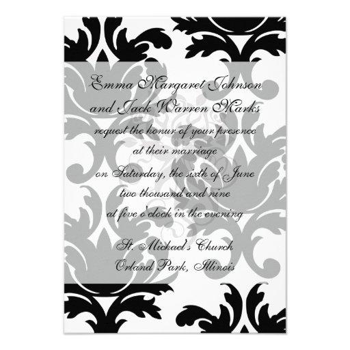 large white and black bold damask custom invitation