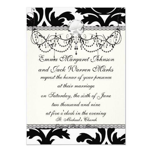 large white and black bold damask 4.5x6.25 paper invitation card