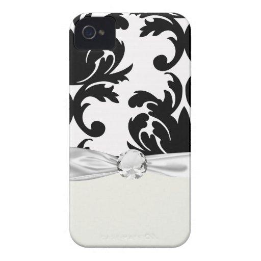 large white and black bold damask iPhone 4 Case-Mate case