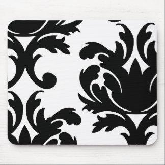 large white and black bold damask mouse pad
