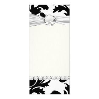large white and black bold damask custom rack card