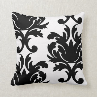large white and black bold damask throw pillow
