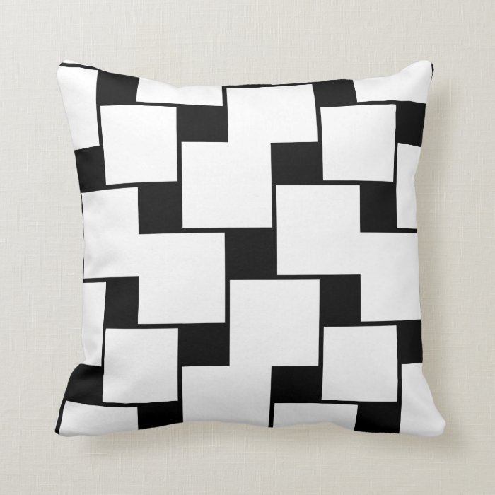 Large White Throw Pillow : Large White and Small Black Squares Throw Pillow Zazzle