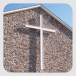 large white cross on a church stonewall square sticker