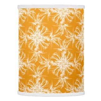 Large White Damasks on Marigold Orange