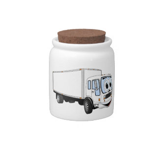Large White Delivery Truck Cartoon Candy Dish