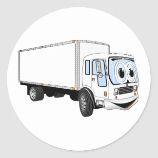 Large White Delivery Truck Cartoon Classic Round Sticker