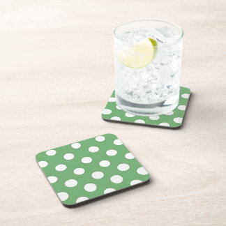 Large white dots on lime green beverage coaster