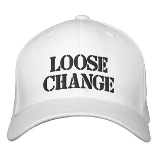Large White flex fit loose change hat Embroidered Baseball Caps