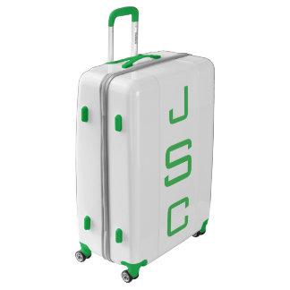 LARGE White + Green Personalized Monogram Luggage