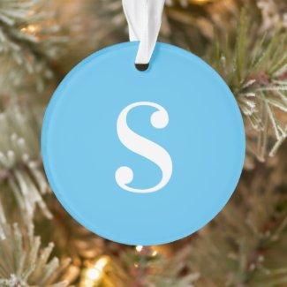 Large White Monogram on Light Blue Ornament