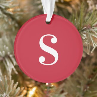 Large White Monogram on Red Ornament