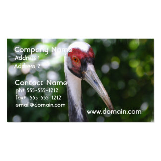 Large White Naped Crane Business Card Template