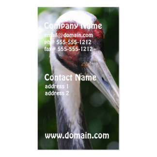 Large White Naped Crane Business Card Templates