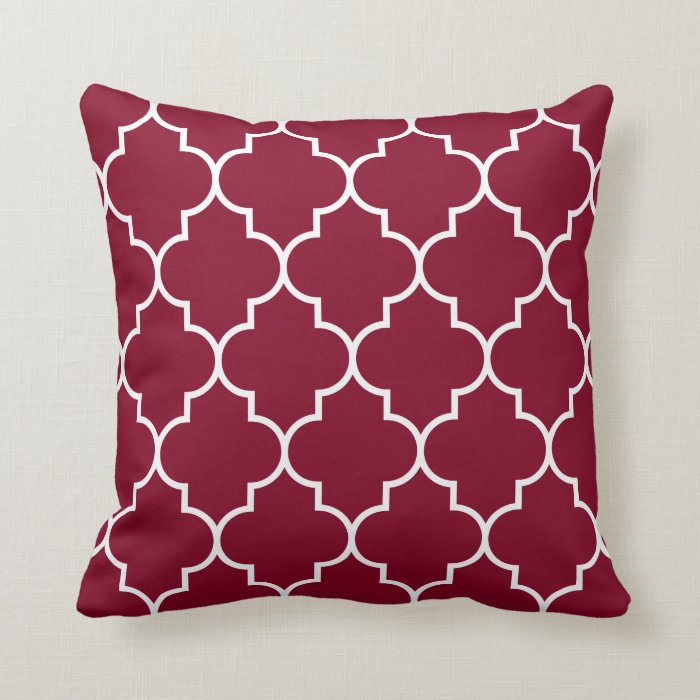Large White Throw Pillow : Large White on Burgundy Background Quatrefoil Throw Pillow Zazzle