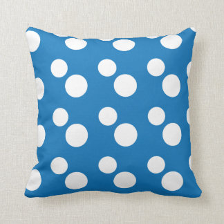 Large White Polka Dots | Blue Throw Pillow