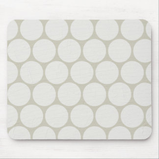 Large White Polka Dots Cream Mouse Pad