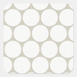 Large White Polka Dots Cream Square Sticker
