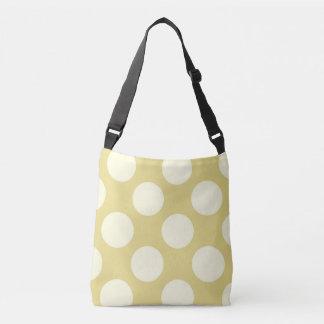 Large white polka dots design on green crossbody bag