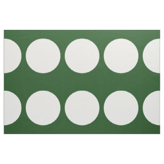 Large White Polka Dots on Dark Green Fabric