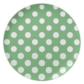 Large white polka dots on lime green plate