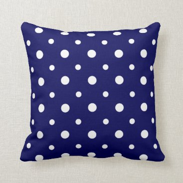 USA Themed Large White Polka Dots on Navy Blue Throw Pillow