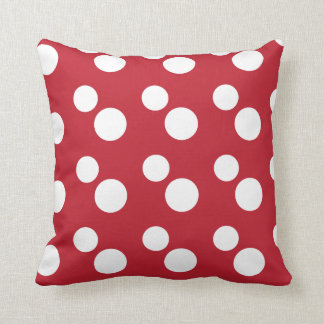 Large White Polka Dots | Red Throw Pillow