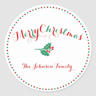 Large White Red Green Custom Christmas Stickers