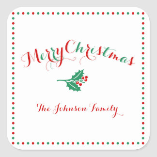 Large White Red Green Square Christmas Stickers