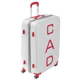 LARGE White + Red Personalized Monogram Luggage