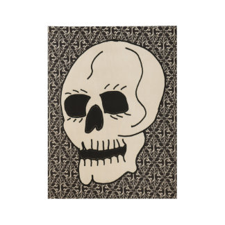 Large White Skull Black Eyes on Damask Pattern Wood Poster