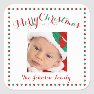 Large White Square Photo Christmas Stickers