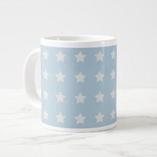 Large White Stars on Powder Blue Background Giant Coffee Mug