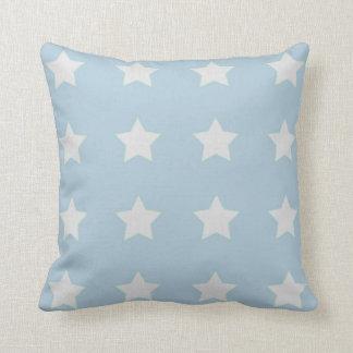 Large White Stars on Powder Blue Background Throw Pillows