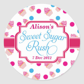 Large White Sweet Sugar Rush Cute Cupcake Stickers
