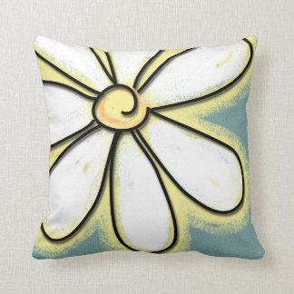 Large White & Yellow Daisy Flower Throw Pillow