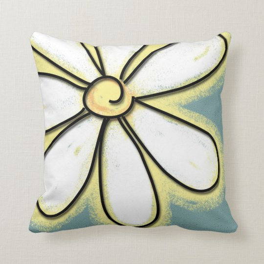 Large White Throw Pillow : Large White & Yellow Daisy Flower Throw Pillow Zazzle.com