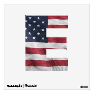 Large window decal letter E wth flag pattern