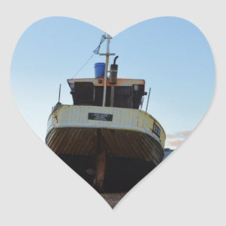 Large Wooden Fishing Boat Heart Sticker