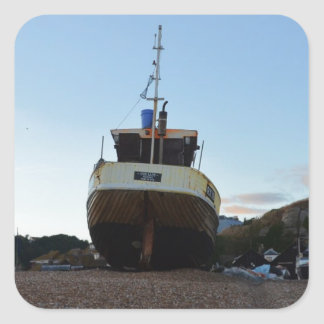 Large Wooden Fishing Boat Square Sticker