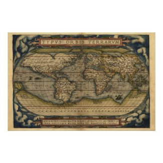 Large World Maps, Antique World Atlas Map Print