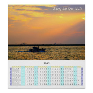 Large Year-At-A-Glance 2013 Calendar with Sunset Poster