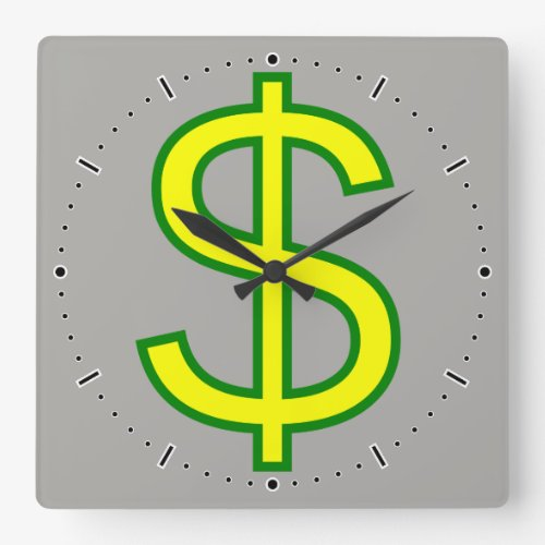 Large Yellow and Green Dollar Sign  Square Wall Clock