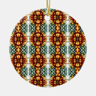 Large Yellow and Green Floral Pattern Ceramic Ornament