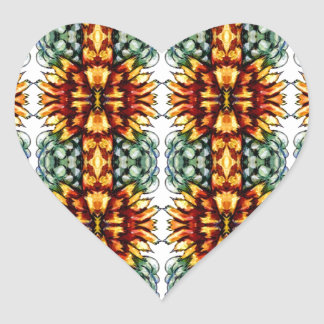 Large Yellow and Green Floral Pattern Heart Sticker