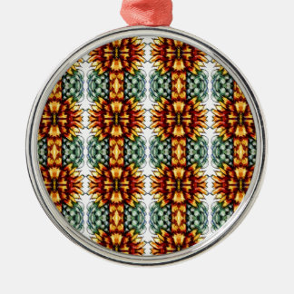 Large Yellow and Green Floral Pattern Metal Ornament