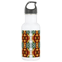 Large Yellow and Green Floral Pattern Stainless Steel Water Bottle