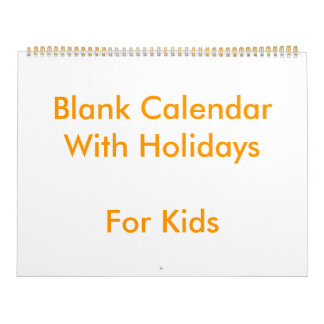 Large Yellow Blank Calendar With Holidays For Kids